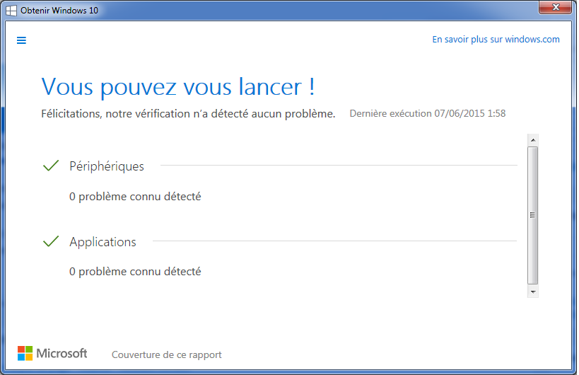 Windows 10 test de compatibilité