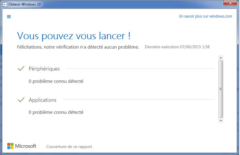 Windows 10 test de compatibilité