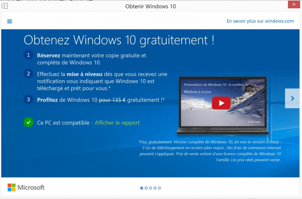 Reservation Windows 10
